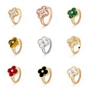 Fashion Classic 4 Four Leaf Clover Band Rings 925 Sier 18K Gold With Diamonds For Women&Girls Valentine'S