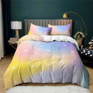 Bedding Sets 3 Pcs Luxury Duvet Cover Set Fashion Gradient Comforter Pillowcase Home Textiles