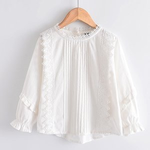 LOVE DD&MM Girls Shirts Autumn Baby Tops Flower Hollow Embroidery Sweet Lace Side Long-Sleeved Blouse Kids Clothes 210302