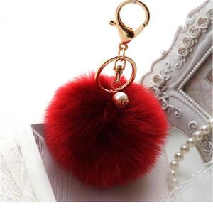 White Bunny Handbag Cute Bag Intimation Pearl Fluffy Rabbit Fur Pom Pom Ball Keychain To Locate Keys Stylish Fashion 1 qylrHL