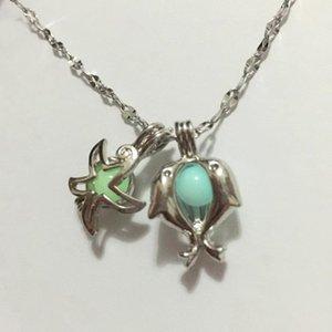 Dolphin Starfish pingentes brilhando colar de grânulos, diy medalhão pingente luminoso jóia gema afortunado colar de medalhão