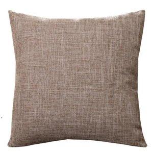 50 cm * 50cm Cubiertas de almohadas de algodón-lino de algodón Funda de almohada de arpillera sólida Lino clásico Cojín de cojín cuadrado Sofá Sofá fundas de almohadas decorativas DHD4753