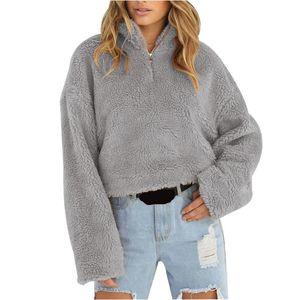 Women's Hoodies & Sweatshirts Zip Turtleneck Sweatshirt Women Short Pullovers Autumn Winter 2021 Fluffy Fleece Long Sleeve Warm Top Ladies