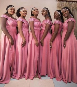 Dark Pink Bridesmaid Dress 2021 A Line Lace Appliqued Split Side Off The Shoulder Zip Back Satin Maid Of Honor Dresses Plus Size Lady Party Guest Prom Gowns
