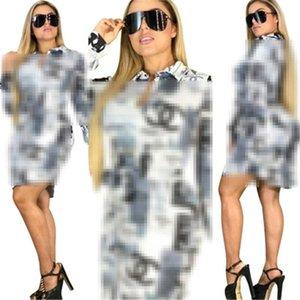 Women Digital Printing Blouses Fashion Trend Lapel Long Sleeve Casual Shirts Designer Famale Autumn Cardigan Buttons With Belt Shirt J2309