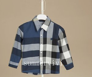 Boys plaid shirt designer style children lapel long sleeve shirt kids cotton casual tops brand boys clothing 2-15T A1140