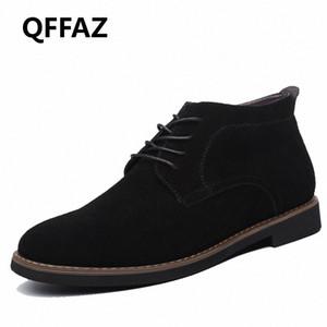 QFFAZ Marca masculina de gamuza de cuero zapatos para hombres botas de hombre sólido casual cuero otoño invierno tobillo botines más tamaño 38 45 botas no 7 bootie fr r5sl #