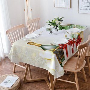 Table Cloth Christmas Champagne Party Decor Waterproof Dining Tablecloth Kitchen Decorative Coffee Cuisine Cover
