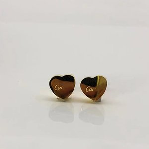 logo luxury heart earring women Stud couple Flannel bag Stainless steel 10mm Thick Piercing body jewelry gifts For woman Accessories wholesale