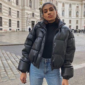 2021 New Cp Winter Thick Warm Short Parkas Women Fashion Black Pu Leather Coats Elegant Cotton Jackets Female Ladies 3hfi