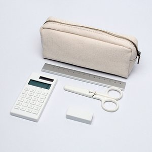 Cotton Canvas Simple Large Bag Capacity Girls Small Fresh Pen Case Pure Color Primary And Secondary School Students Pencil Case.