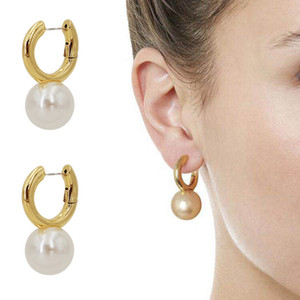 2021 fashion accessories New French designer brand Brass plated 18K gold pearl ring earrings and earrings