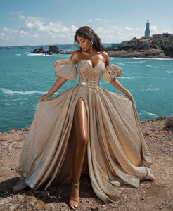 Elegant Gold Evening Dresses 2021 New Dubai Formal Gowns Sexy Sweet-Heart Neck High Split Sparkling Party Prom Dress Arabic Middle East