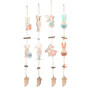 Wooden Easter Decoration DIY Eggs Bunny Pendant Hanging Ornaments Door Window Tree Decor Home Easter Supplies JK2102XB