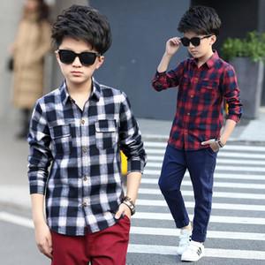 Boys Shirts Fashion Children Plaid Shirts Cotton Long Sleeve Boys Tops Shirt Teenage Kids Clothes 5 6 8 10 12 14 15 Years