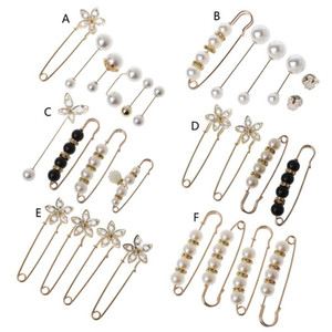 Sweater Shawl Clip Double Faux Pearl Brooches Shirt Pin Buttons Pearl Crystal Waist Pants Extender Safety Pins for Women