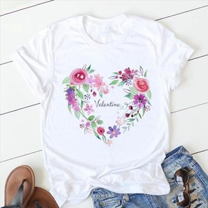 Heart Womens Summer Pink Flower Print Basic O Neck T shirt Girl Ladies Streetwear Harajuku Kawaii Graphic Tees