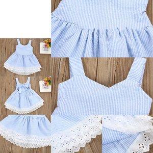 Vestido de bowknot sin respaldo de la raya bebé nuevo niños encaje princesa vestidos boutique ropa para niños C3777 6FZD