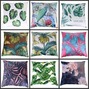 Forêt tropicale Feuilles Afrique Plantes tropicales Hibiscus Flower Thute Linge Taie d'oreiller Chaise Canapé Coussin Couvercle Livraison Gratuite 157 Y2