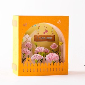 Mother's Day Greeting Card 3D Pop-Up Hollow Paper Carving Carnation Flowers Mother's Day Teacher's Day Greeting Cards DWD5201