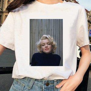 Camiseta Mujeres Harajuku Moda Marilyn Monroe Impresión redonda Cuello redondo Manga corta Tops casuales Camiseta Ropa femme