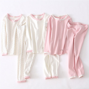 2021 New Children Cotton Pajamas Set Girls Cozy Bowknot Loungewear Sleepwear Kids Nightwear Underwear Suit Autumn Winter Bys9