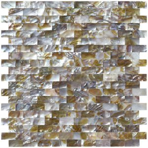 Art3d Wall Stickers Natural Mother of Pearl Oyster Mini Brick Shell Mosaic Tile for Bathroom Kitchen Backsplashes 6 Sq Ft(30*30cm)