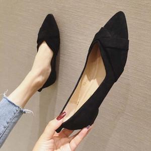 الأحذية المسطحة المدببة النساء 2020 الربيع والصيف جديد من جلد الغزال أحذية العمل المهنية حجم كبير الفم الضحلة الأحذية الأرجواني الأسود SCH P8LI #