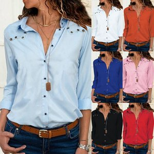 Women's Blouses & Shirts Plus Size Chiffon Blouse Shirt Women Blusa Mujer Top Sexy Deep V-Neck Zipper Autumn Casual Full Sleeve