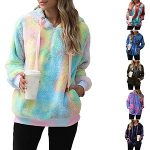 Autumn and winter 2020 women's Plush Sweatshirt tie dyed Pullover Sweater Hoodie