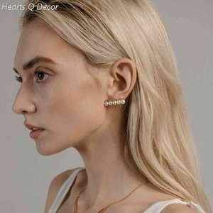 Balance Bar Pearl Stud Statement Earrings Women Classic Jewelry Gothic Boho Designer Unique Party Elegance Gifts Trendy Sale 210609
