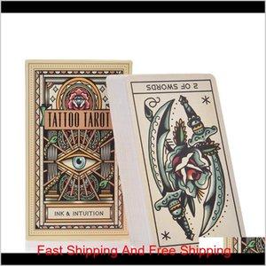 78Pcs Ery Board Comfortable Version Dropshipping Tattoo Tarot Cards Full English Tattoo Cards 78Pcs Game Hot Sale Yxllgh Ppqio Z3Hkc Ur1Cu