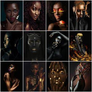 숫자에 의해 azqsd 페인트 아프리카 여자 handpainted 아크릴 독특한 선물 유화 캔버스 초상화 키트 룸 장식에 의해 숫자로 그림