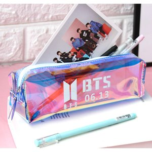 Bullet proof youth group stationery box BTS pencil case Korean laser transparent octagonal large capacity laser pencil c