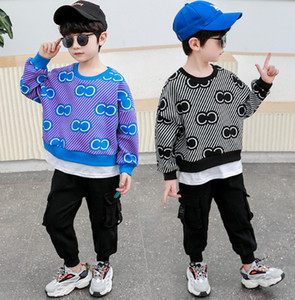 Fashion Boys Letter oblique stripe casual outfits 2021 new kids splicing long sleeve sweatshirt+pocket pants 2pcs sets kids clothing A5907