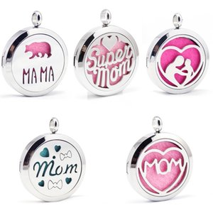 Mom Aromatherapy Necklace Diffuser Pendant Lockets Perfume Essential Oil Diffuser Necklace Mother's Day Perfume Chain Present GWB5184