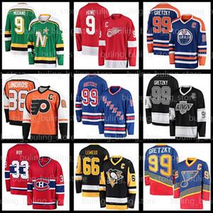 99 Wayne Gretzky Hockey-Trikots 11 Mark Morgy 9 Gordie Howe Mike Modano 66 Mario Lemieux Pavel-Bure Patrick Roy Eric Lindrobby ORR