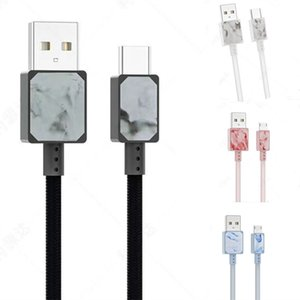 Ink painting 1.2M Type C Braided USB Charger Cable Micro V8 Cables Data Line Metal Plug Charging for Samsung Note 20 S9 Plus