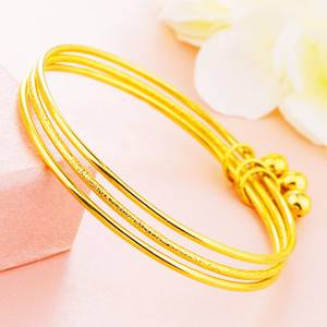 3-layer Bracelet 18k Yellow Gold Filled Fashion Women Unopenable Bangle Gift