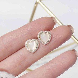 Korean Trendy Opal Round Table Cz Heart Women Simple High Quality Love Study Earrings Birthday Present Hanger