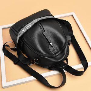 Backpack Double Shoulder Bag Women's 2021 Fashion Women Soft Leather Casual Bookbag