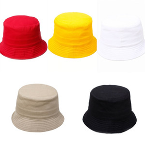 Solid color Beanie Caps Outdoor hat Children grid Bucket Hat Casual Flower Sun Printed Basin Canvas Topee kids fisherman Baby M979 20 X2