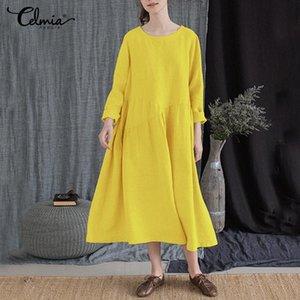 Günlük Elbiseler Celmia Kadınlar Katı Renk Elbise 2021 Sonbahar Uzun Kollu Parti Midi Kadın Gevşek Vintage Gömlek Vestidos Artı Boyutu 5XL