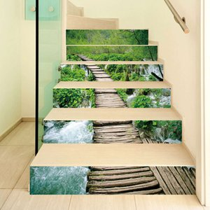 adhive and AMJ waterproof glue self free innovative stair living room diy mountain creek path decoration home sticker