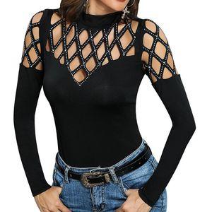 Femmes Summer Blouse Tops T-shirt à manches longues à manches longues sexy Sexy Sexy 148 Q2