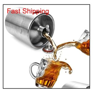 Stainless Steel 2L 64Oz Mini Beer Bottle Barrels Beer Keg Screw Cap Beer Growler Homebrew Wine Pot Barware For Party Mwcsl Mdihg