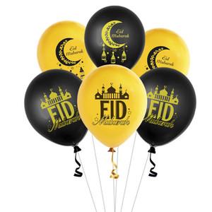 12 pulgadas Ramadán Globos Redondo Islam Muslim Eid Mubarak Latex Luna Imprimir Globo Eid Al-Fitr Supplies GWD4880