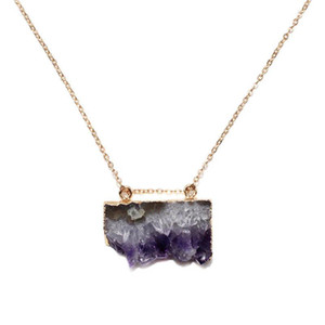 Top Grade Purple Amethysts Druzy Pendant Geode Raw Crystal Necklace Irregular Size Gemstones Jewelery Gift for Women Girl