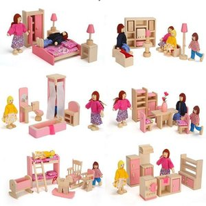 6 rooms children whole set wood pink furniture doll house toys  Kids girls birthday gifts of wooden kitchen bathroom bedroom toy 210225