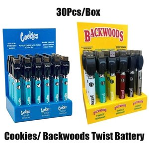Hot Cookies Backwoods Twist VV Battery Preheat Bottom Voltage Adjustable 900mAh Vape Pen Cartridge 510 EGO with Display Box 30Pcs Pack